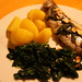 roast rainbow trout with crispy sage & almonds, cavolo nero and potatoes