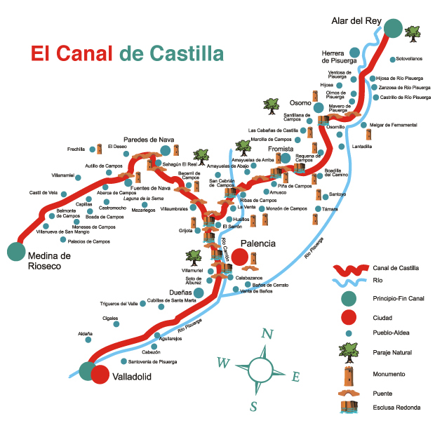 Plano del Canal de Castilla - Cortesia de La Cartoteca