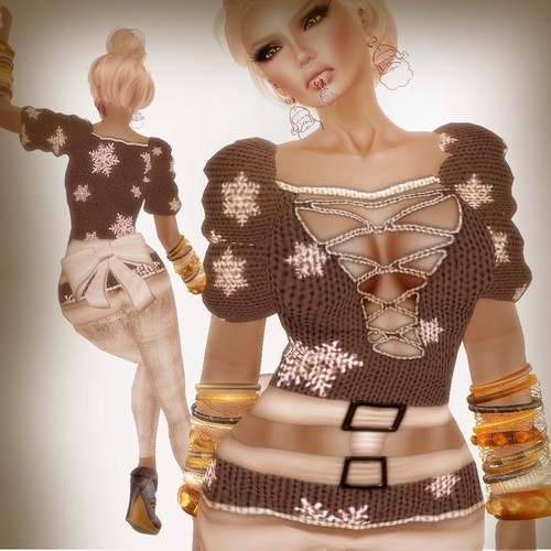 A&A Fashion Snowflake Sweater Brown