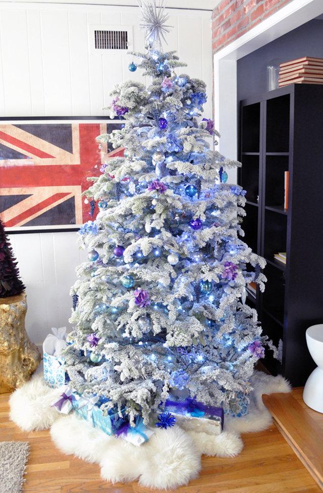flocked christmas tree - purple and blue chirstmas