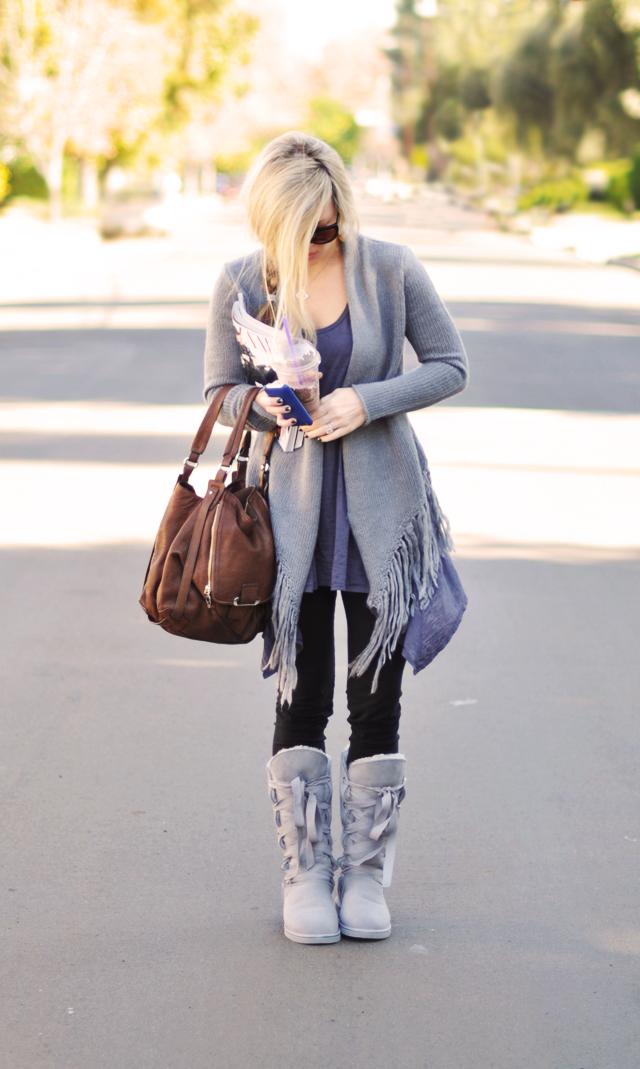 casual outfit -kooba bag -gray and brown