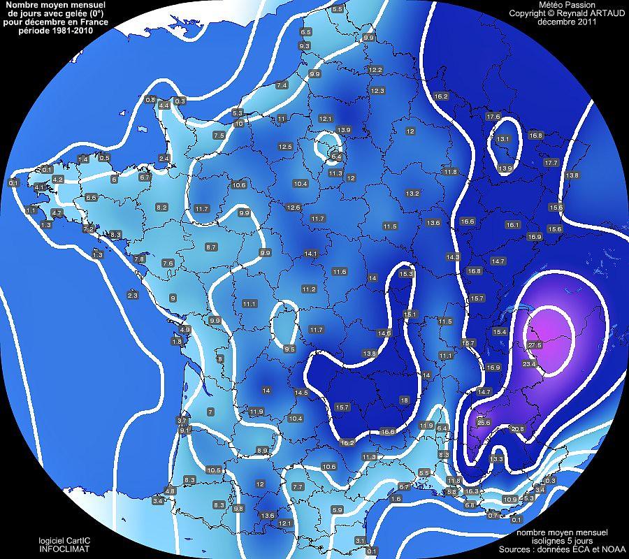nombre moyen mensuel de jours avec gelée 0° pour le mois de décembre en France sur la période 1981-2010