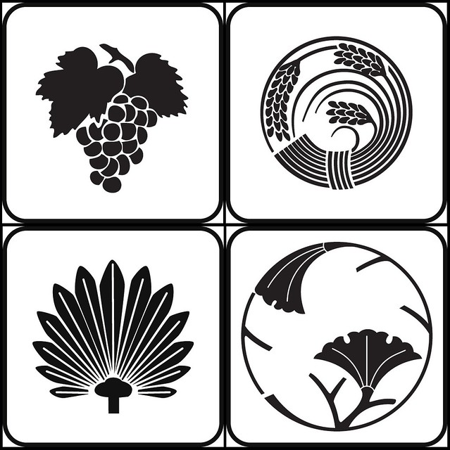 hitofusabudo, inenomaru, shuro, ichoedamaru (plant - kamon)