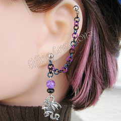 Black, Blue and Purple Dragon Cartilage Chain Earring
