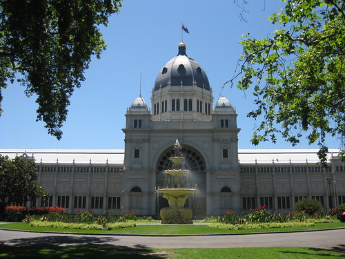 The Royal Exhibition Building's Southern Facade and the Hochgurtel Fountain - Melbourne