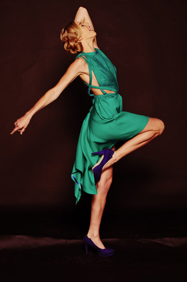 Couture Studio Shoot, Green Dress. Photography by Kent Johnson