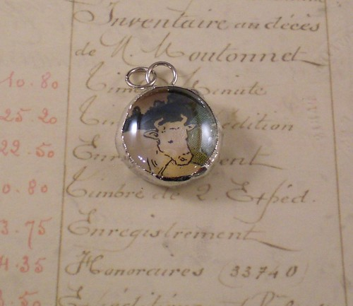 Cow Bubble Glass Charm