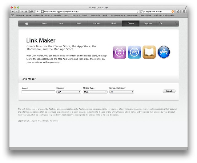 Apple's Link Maker page