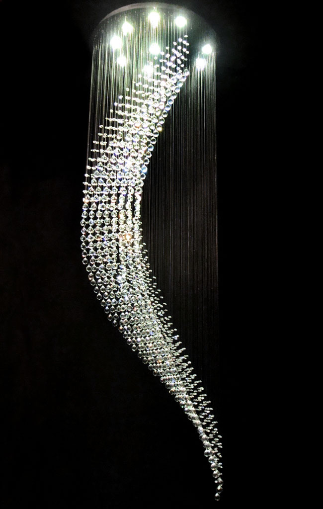 modern wave crystal pendant lamp ceiling light led
