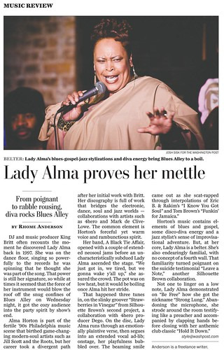 Lady Alma Washington Post tearsheet