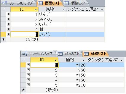 1対1リレーションシップ例 MS Access