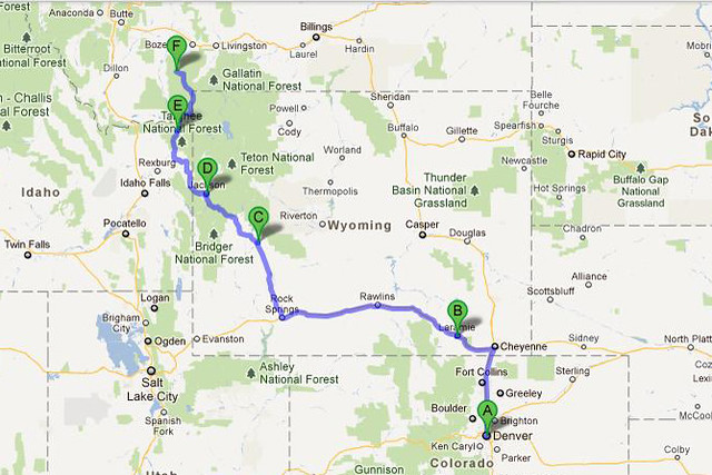 Map from Denver, CO to Big Sky, MT
