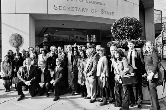 Celebrating AB 361, Benefit Corporation outside Secretary of State's office