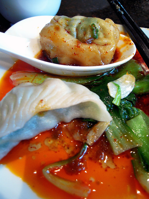 Wonton in chili sauce and fish dumpling