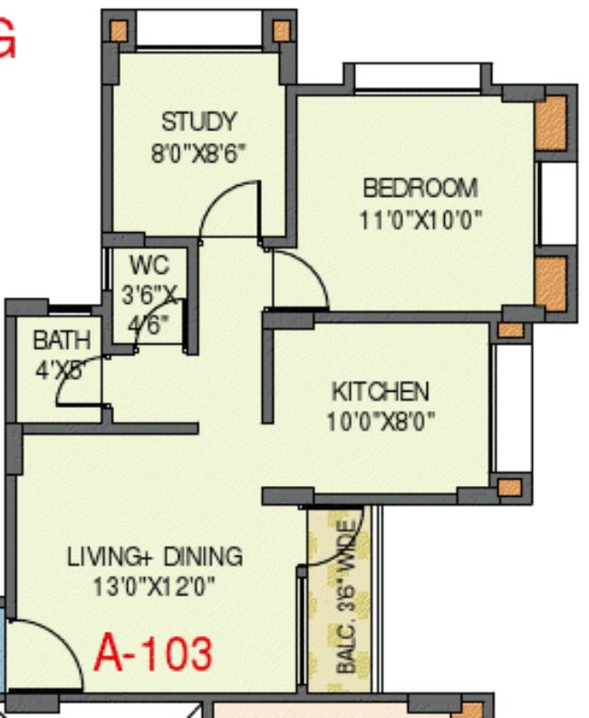 Collina Kanhe - Iris - 1.5 BHK Flat without Entrance Lobby