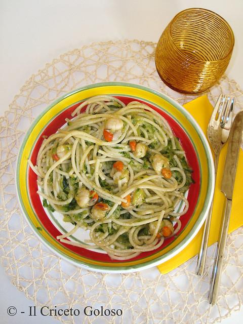 Spaghetti con zucchine e canestrelli al brandy 2