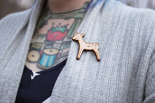 Kaylah of the Dainty Squid blog - detail of my Forest Fawn Pin.