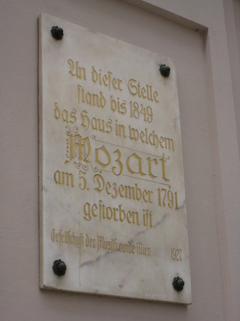 A plaque showing the area where Mozart was buried in a mass grave © Gavin Plumley/ROH 2009