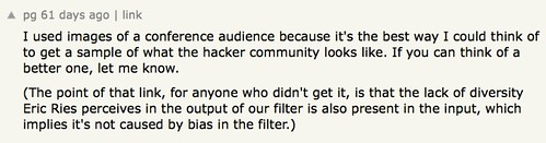 the lack of diversity Eric Ries perceives in the output of our filter is also present in the input, which implies it's not caused by bias in the filter.