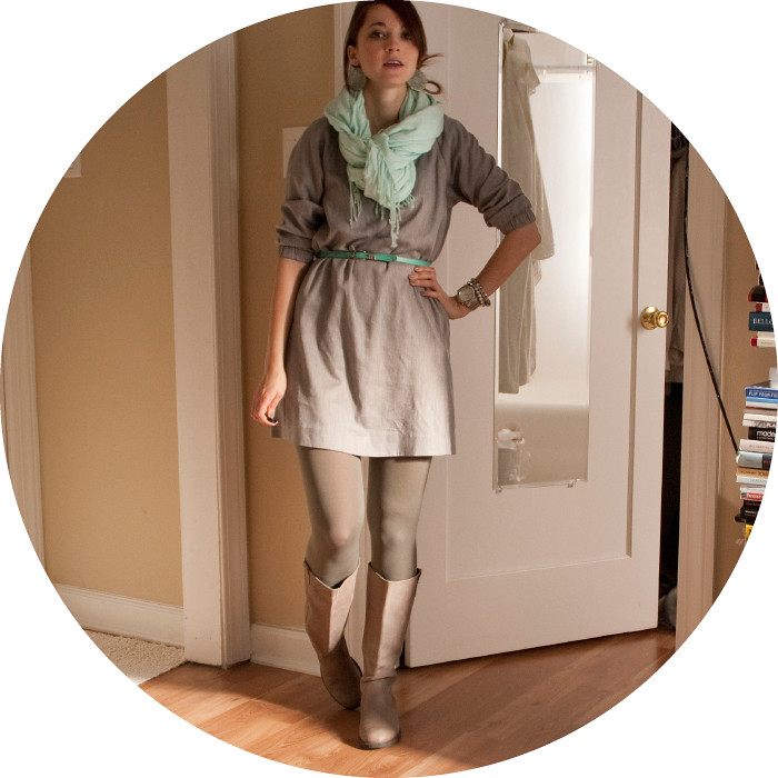 dashdotdotty, outfit blog, ootd, business casual, creative young professional, remixing, j.crew, gray, turquoise, how to wear, boots with a dress, olive tights