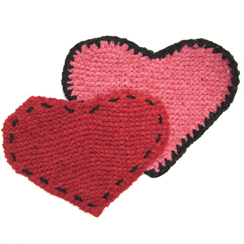 Knit Heart Washcloths