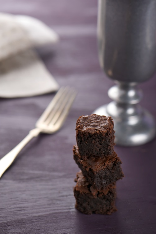 stacked almond brownie
