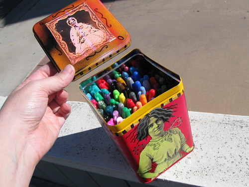 Decorated gift tin filled with sharpie markers