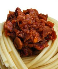 Mushroom sauce on noodles