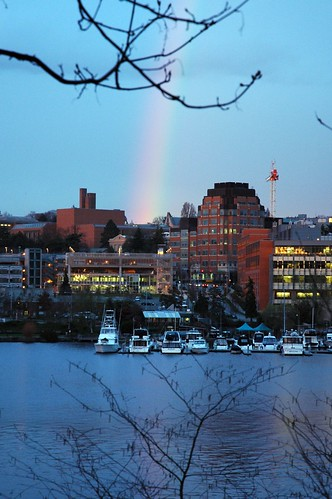 Rainbow coming down at the University of Washington, U District, Seattle, Washington, USA by Wonderlane