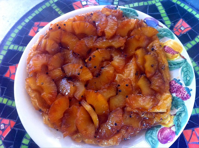 Pineapple and peppercorn tarte tatin