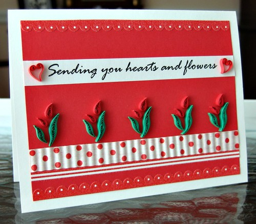 handmade Valentine with quilled hearts and flowers