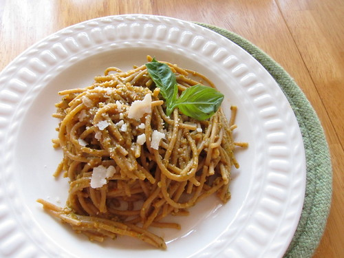 Pasta with Tomato Almond Pesto