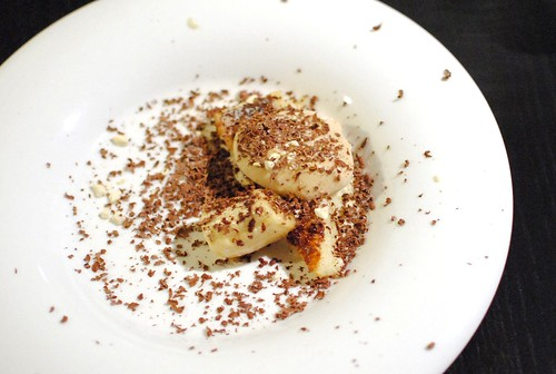 malt panna cotta, pain perdu, whiskey banana sauce