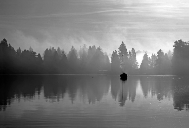 Lonely on the water - monochrome