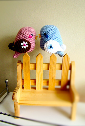 Valentine birds amigurumi by Amiguria by Amiguria