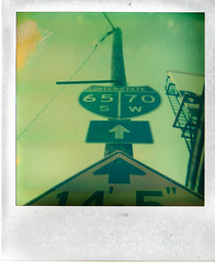 Fountain Square Road Signs, Indianapolis Polaroid