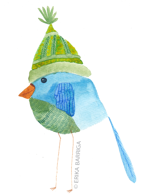 Green Hat Watercolor Bird Print