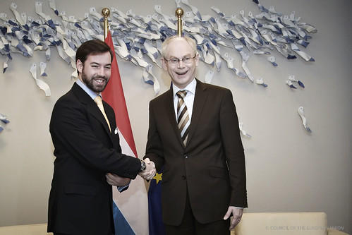 President Van Rompuy shakes hands with HRH Prince Guillaume, Hereditary Grand Duke of Luxembourg, prior to their meeting, Brussels, 1 February 2012