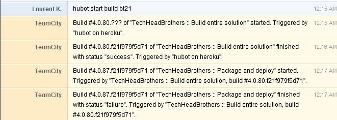 TeamCity, GitHub Hubot and HipChat