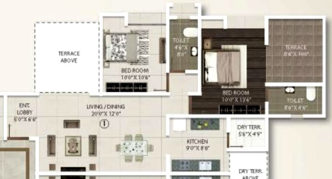 2 BHK Flat - 715 Sq.ft. Carpet + Terrace - B & C Buildings - Even Floors - Gini Viviana, Balewadi, Pune 411 045