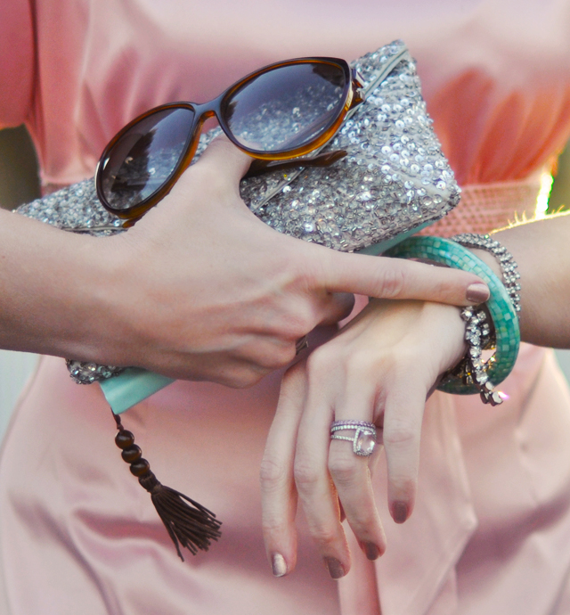 satin and sparkles - aqua and  pink