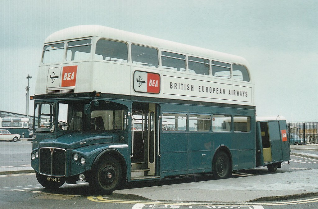 BEA Routemaster & trailer at Heathrow.this was my favorite livery on the RMAs.