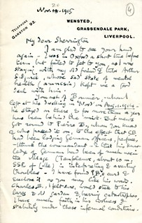 Elton to Sherrington - 20 November 1915 (S/3/4/1/4)