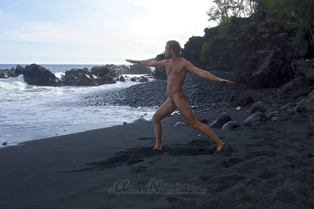 naturist yoga 0001 Kehena black sand beach, Hawaii, USA
