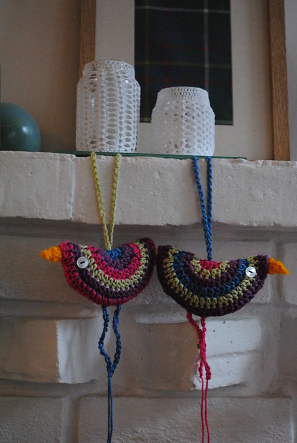 Crochet birdies and jars