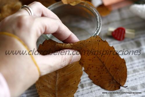 ideas y originales portavelas con hojas secas y clips