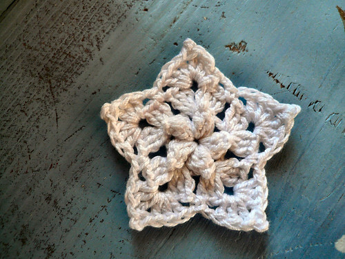 White Puff st crochet star
