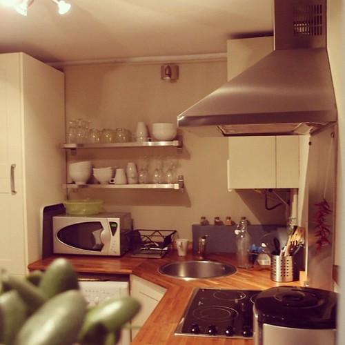 同一棟樓,不同的公寓。今?,在這初次見面的廚房,做了香草蕃茄肉丸子。佐生菜沙拉、香煎櫛瓜和蘑菇。搭上約莫5歐元一瓶,順口簡單容易喝的紅酒。敬,這夜!