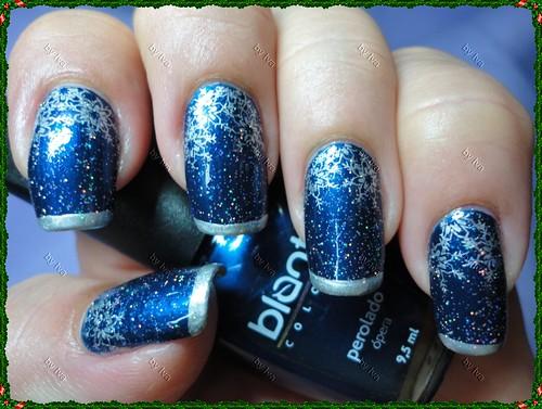 Christmas Nails: Ópera (Blant) + placa m59 + Prata (Impala Cromo) + Star (Risqué)