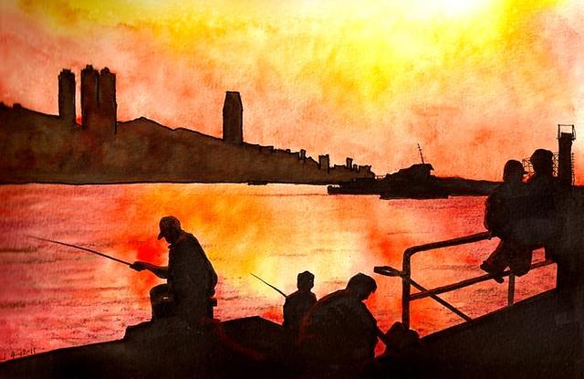 Fishing at Dusk  黃昏的鯉漁門碼頭